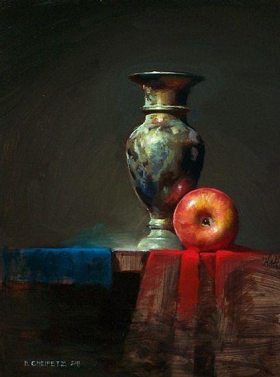Red Cloth Blue Cloth by David Cheifetz Oil ~ 12 x 9