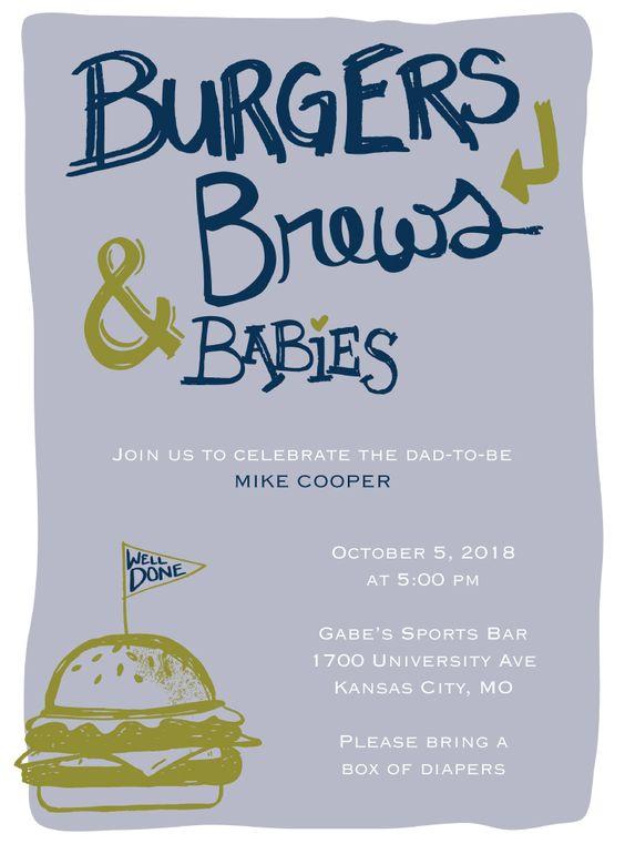 Burgers, Brews and Babies  Baby Man Shower invitation  #babyshower #manshower #burgersandbrews