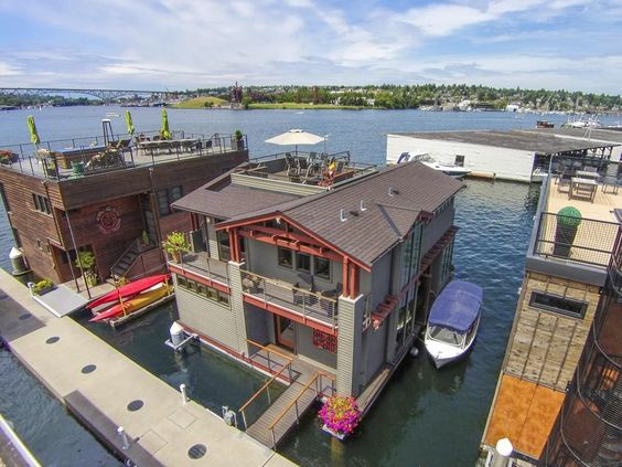 Outrageous Floating Homes For Sale Seattle Boating And House - Awesome floating house shore vista boat dock by bercy chen studio