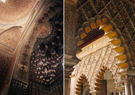 Examples of scalloped arches in the Gur-e Amir mausoleum (left) in Samarkand, Uzbekistan, and the Alcázar (right) in Seville, Spain. Photos: Jennifer Hattam.