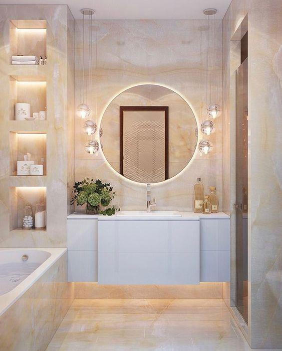 small bathroom frameless mirror ideas // decorative mirrors #bathroommirror #bathroomremodel #bathroomdecor