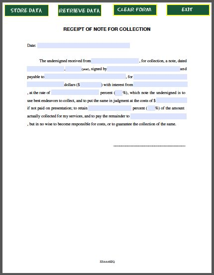 Receipt of Note for Collection - promissory note template - mutual agreement contract template