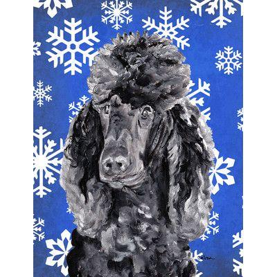 Caroline's Treasures Black Standard Poodle Winter Snowflakes 2-Sided Garden Flag