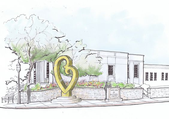 An architectural rendering by Peter Lewis Architect and Associates depicts the final destination of the Mother's Love sculpture in front of the Kerrville Arts and Cultural Center.