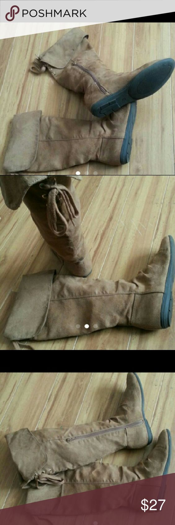 Tall H&M suede boots Brown suede boots size zip. Back tie detail good  condition H&M Shoes Over the Knee Boots