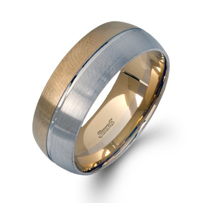 LG120 - This impressive 14K white and yellow gold mens band is comprised of a contrast of hues. - LG120