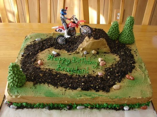 dirtbike cake | really wanted this cake to be rustic so i frosted the cake with ...