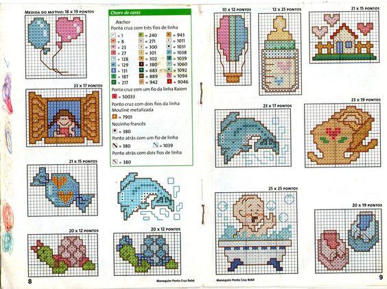 mini gráficos em ponto cruz para bebê
