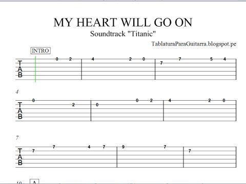 My Heart Will Go On Titanic Version 2 Tablatura Para Guitarra Youtube In 2020 Guitar Chords Guitar Music