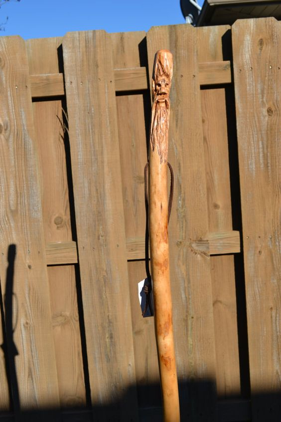 Carved Wood Spirit Walking Stick 424 by CreationCarvings on Etsy, $39.97