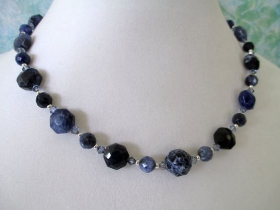 Sodalite and Swarovski Crystal Necklace by mdeja on Etsy, $65.00