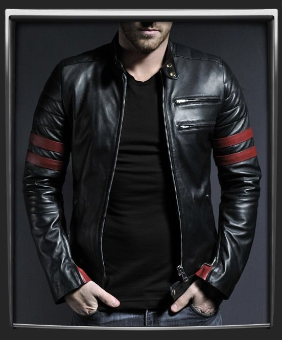 Hybrid. Mens black leather jacket with red  detailing.   Drawing inspiration from our Mayhem and Café Racer leather jackets, we've created this highly sought after 70's retro biker style leather jacket. With double chest pockets,  complimentary red stripe accents, and double snap motorcycle collar.  This jacket is perfect for riding around town or just hanging out. As seen on one of our favorite actors Sam Witwer from the US SyFy series Being Human.