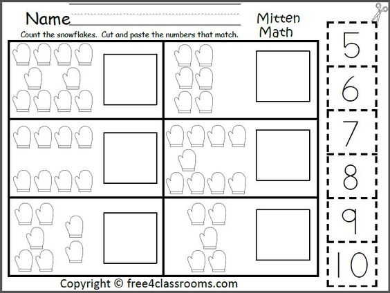 Free Mitten Math Numbers To 10 Worksheet Students count the – Free Cut and Paste Worksheets
