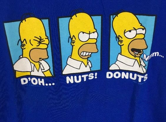 Funny Homer Simpson Men's T Shirt D'Oh Nuts Donuts Size XL 7 11 Promo Blue | eBay