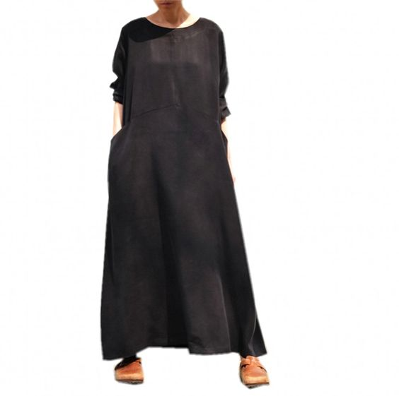 ChenJia Vintage Black Silk Dress Women&-39-s Plus Size Casual Dress A ...