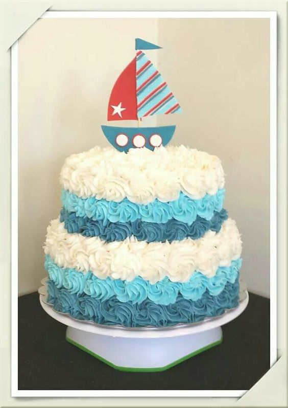 Nautical baby shower cake cake my cakes pinterest for Baby boy cake decoration