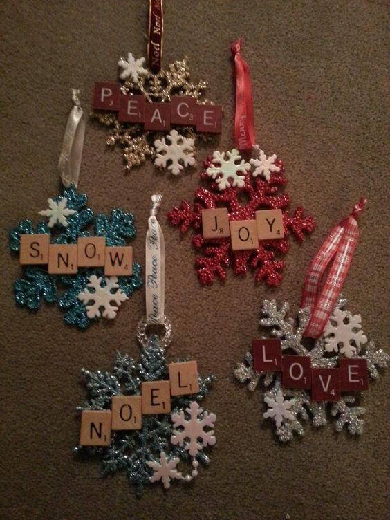Christmas scrabble snowflake ornaments: