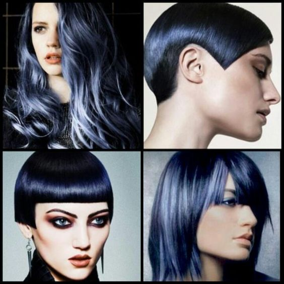Blue and silver hair.