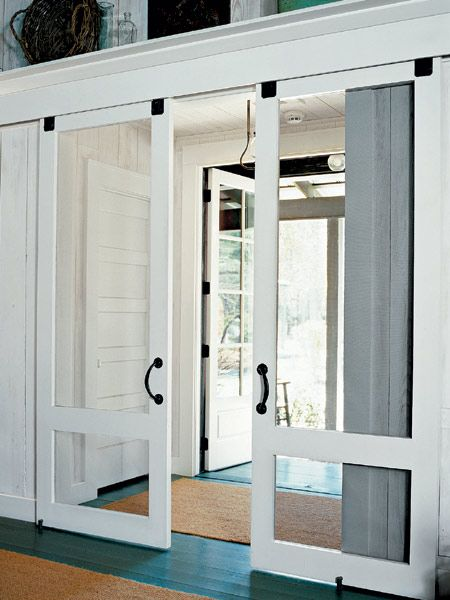 sliding screen doors - great idea for the top porch
