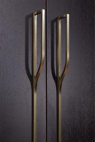 Brass door pull details
