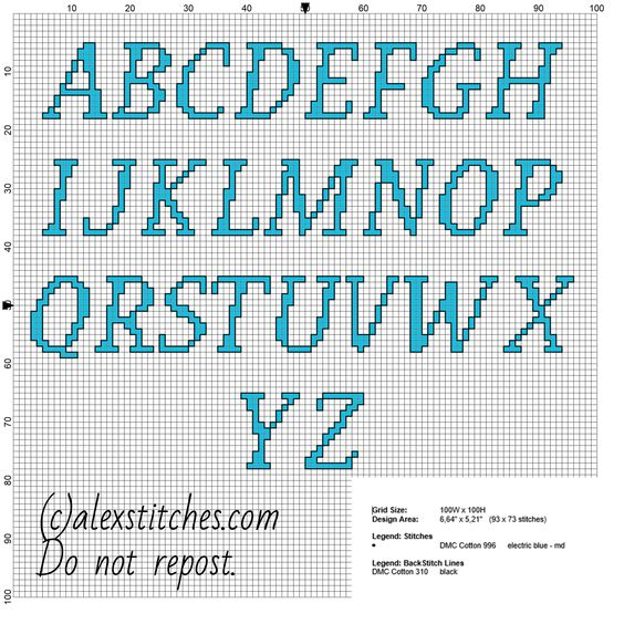 Cross Stitch Alphabet Uppercase Letters For Names With Cat