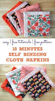 Self Binding Cloth Napkins | Easy DIY sewing project on how to make 10 minutes self-binding cloth napkins for your table setting decor. Make this double-sided mitered napkins by using fat quarter fabric or repurpose materials that perfect for DIY homemade gift or craft for sale. #sewingproject #tabledisplay #sewingforkitchen #freesewingtutorials #DIYnapkins #fatquartercrafts #craftforsale #clothnapkinstutorials #easyclothnapkins #DIYgiftideas for full tutorials on Crafty For Home