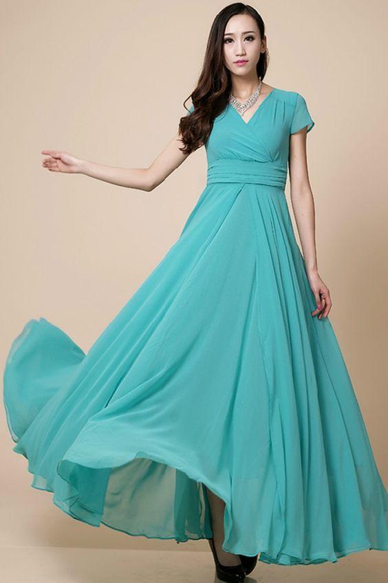 Elegant Blue V-neck Cap-Sleeve Maxi Chiffon Dress - OASAP.com