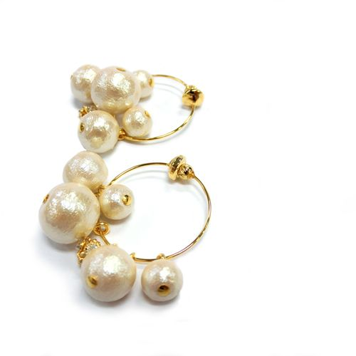 【radiu】~Cotton Pearl Garden~アーチイヤリング