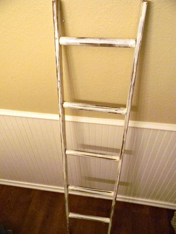 Ladder Vintage Rustic, Blanket Ladder, Distressed Pot Rack