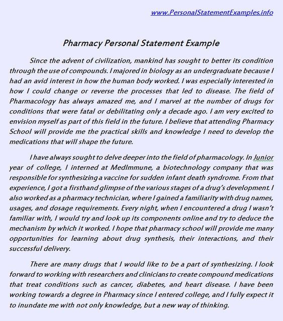 When you are writing a pharmacy personal statement for your job - personal statement sample
