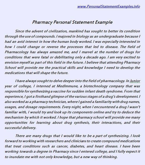personal statement pharmacy school