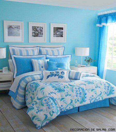Decoracion dormitorios pared azul buscar con google - Decoracion pintura dormitorios ...