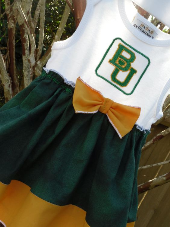 #Baylor University Baby Girls Boutique Dress Onesie on Etsy, $32.95