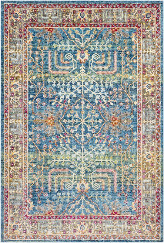Tillamook Traditional Silk Floral Bright Blue Sky Blue Area Rug Traditional Area Rugs Silk Area Rugs Rugs
