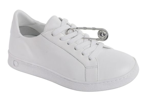 Versus Versace Womens White Leather Safety Pin Lace Up