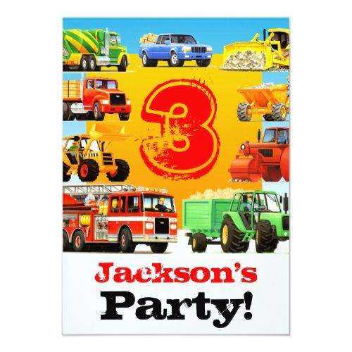 Boys 3rd Birthday Construction Truck Party Invitation Zazzle Com