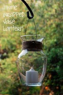 Twine wrapped vase lantern
