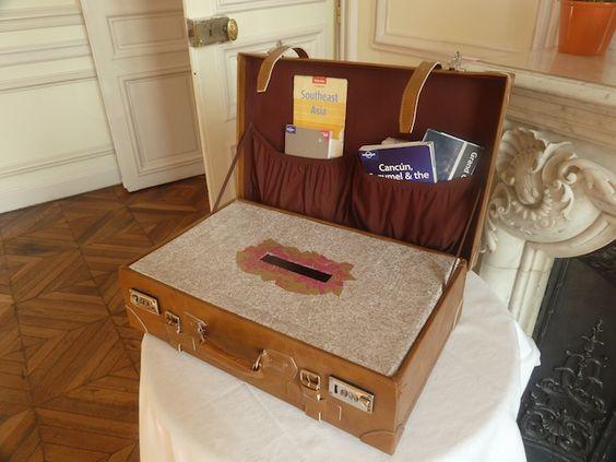 Décoration de mariage urne valise