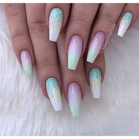 Pastel Lime Green Ombre Coffin Nails Glitter Nail Art Design