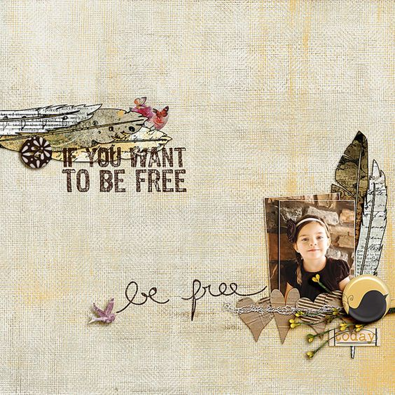 be-free1 LO | Leaf, Feather Inspiration LO | Quote Inspiration