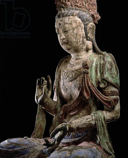 坐在大菩薩舉手,大金(1115-1234)(木材及顏料)(詳細信息)(查看206546)