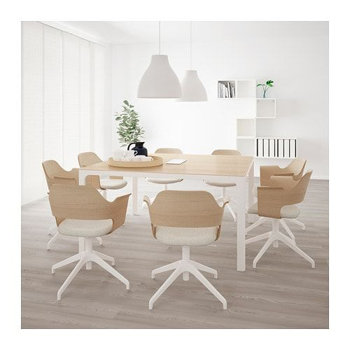 Bekant Table Conference Plaque Chene Blanchi Blanc 140x140 Cm
