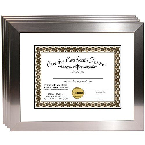 Creativepf Y8sh 11x14ss W Stainless Steel Document Frame Displays 8 5 By 11 With Mat Or 11 By 14 Certificate In 2020 Frame Display Document Frame Diploma Frame