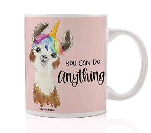 Unicorn Llama Mug Cute Pink Rainbow Alpaca Girls Desk Accessories Office Decor Desktop You Can Do Anything Inspirational Quote Pretty Saying Kids Girly Decoration 11oz Ceramic Coffee Cup by Digibuddha