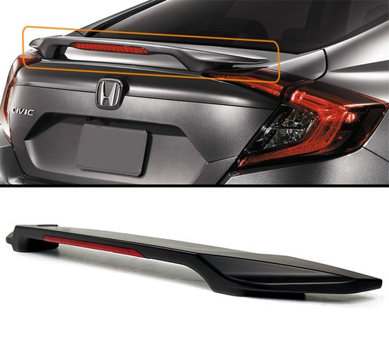 FOR 2016-2017 HONDA CIVIC LX/EX/TOURING 4DR SEDAN TRUNK LID SPOILER WING W/ LED 3RD BRAKE LIGHT -- Awesome products selected by Anna Churchill
