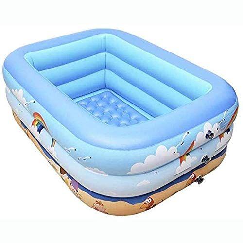 Rindasr Baignoire Bebe Domestique Pliant Portable 59 Pouces Pvc Carre Independant A Trois Couches Avec Anneau D Air De La P Inflatable Pool Swimming Pools Pool