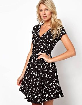 Enlarge ASOS Skater Dress With Wrap Front In Heart And Bird Print
