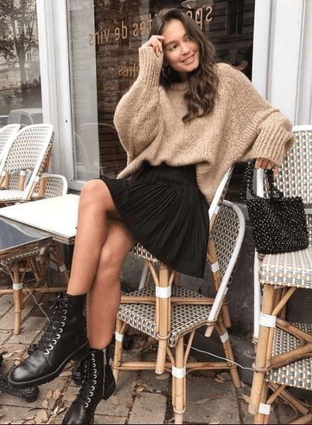 outfits casuales con faldas y suéter de invierno