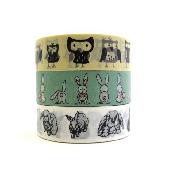 Washi tape set Owls & Rabbits by Hobbyhoppers on Etsy