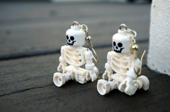 Halloween Skeleton Dangle Earrings made from LEGO� pieces